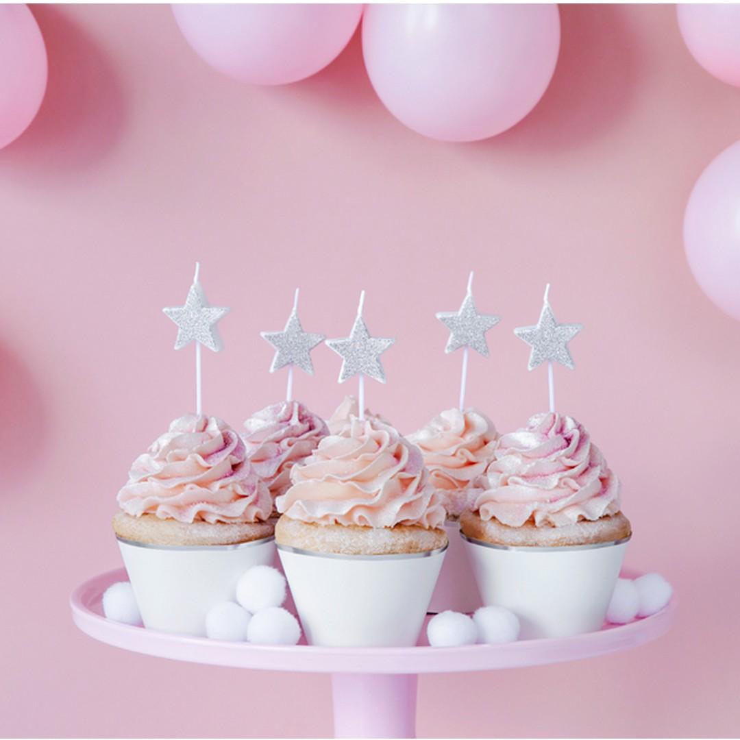 świeczki na urodzinki brokatowe w kształcie gwiazdek