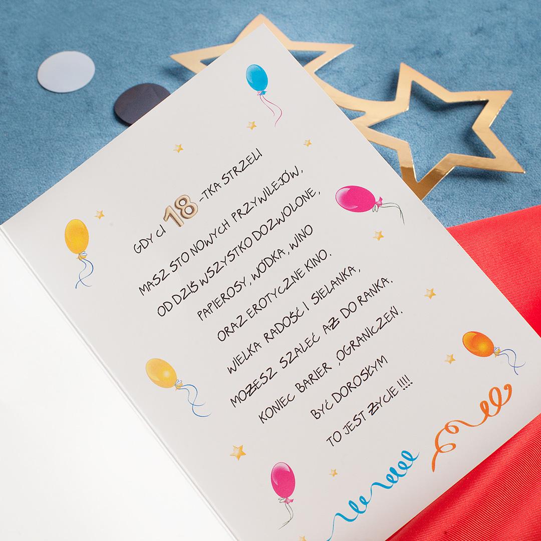 Zdjęcie w galerii - KARTKA z Życzeniami na 18 Urodziny Ruda Dziewczyna & Tort