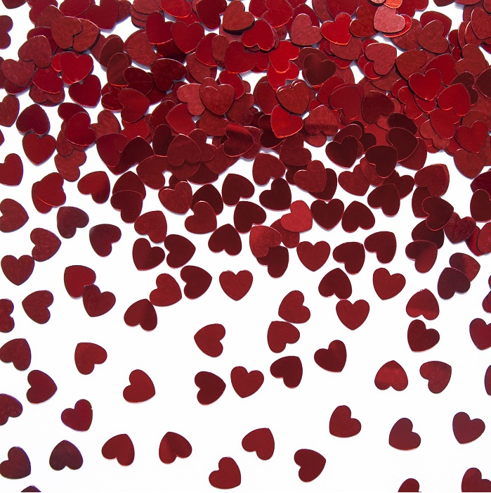 Zdjęcie w galerii - Konfetti Serca, czerwony, 25mm, 10g