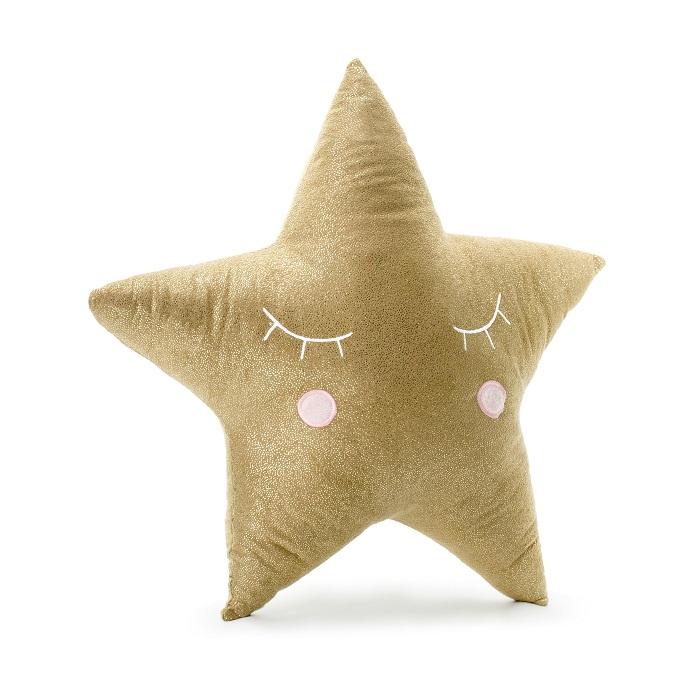 Mięciutka, pluszowa poduszka w kolorze beżowym w kształcie śpiącej gwiazdki