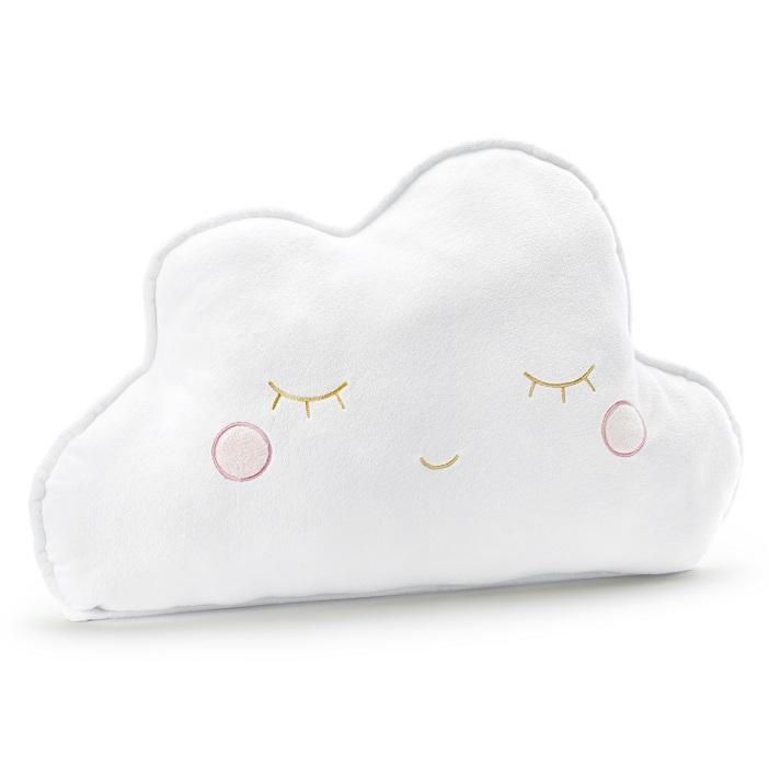 Mięciutka, pluszowa poduszka w kolorze białym w formie śpiącej chmurki