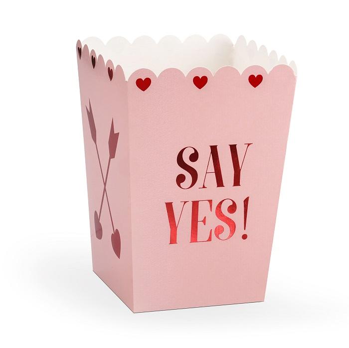 Zdjęcie w galerii - Pudełka na popcorn, na Walentynki Love is in the air, 8,5×8,5×12,5cm, 6 szt