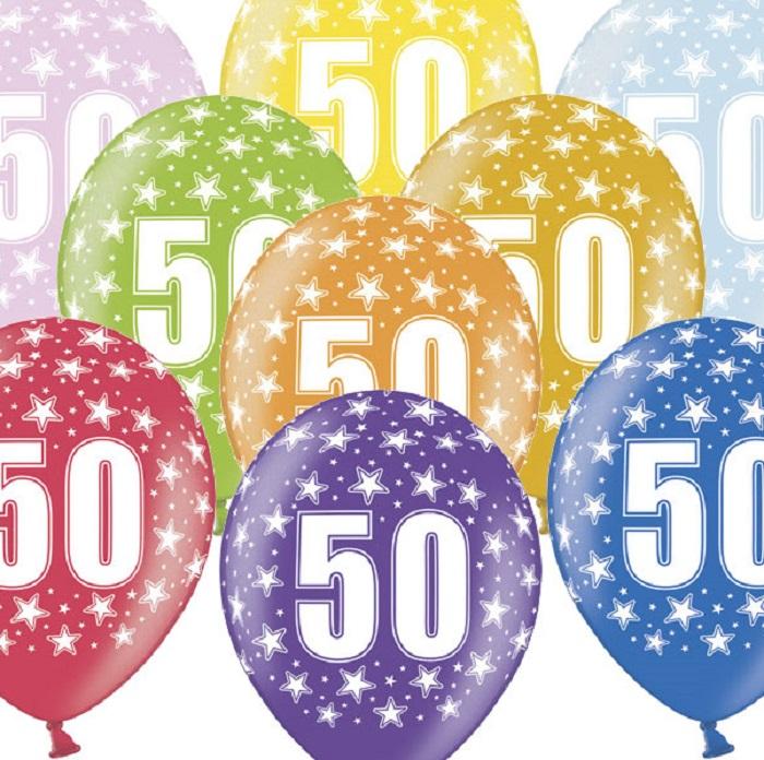 Zdjęcie slidera - Balony na 50 Urodziny, 30cm, Metallic Mix, 6 szt