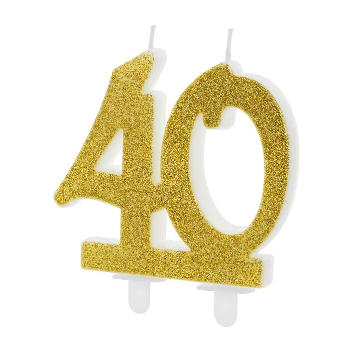 Złota, brokatowa świeczka składająca się z cyfr 4 i 0, na tort, na 40-te urodziny