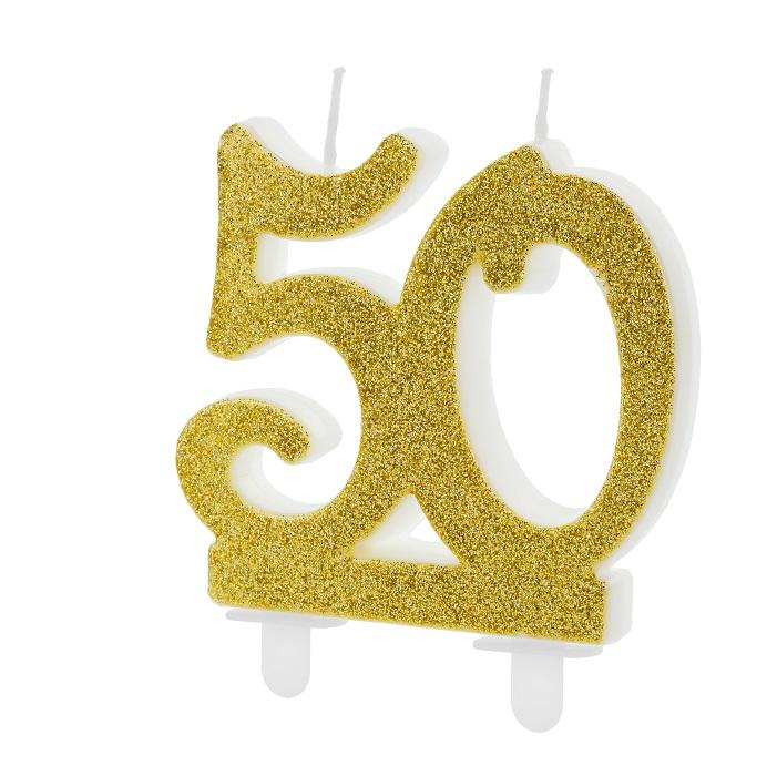 Złota, brokatowa świeczka składająca się z cyfr 5 i 0, na tort, na 50-te urodziny