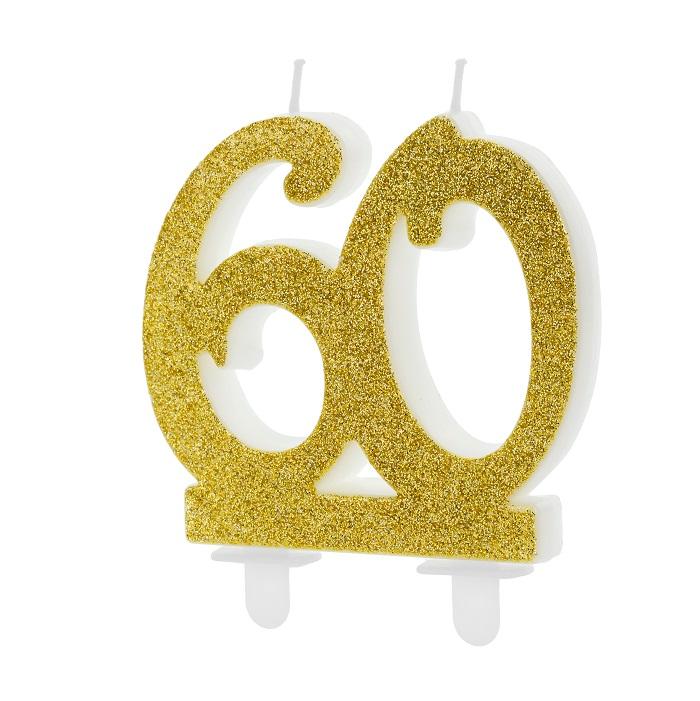 Złota, brokatowa świeczka składająca się z cyfr 6 i 0, na tort, na 60-te urodziny