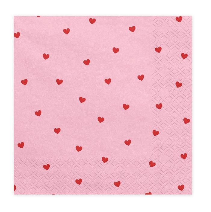 Zdjęcie w galerii - Serwetki Serca na Walentynki, j. róż, 33x33cm, 20szt