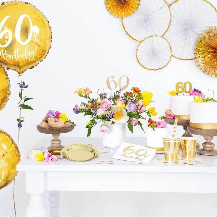 Zdjęcie w galerii - Świeczka urodzinowa liczba 60, złoty 7.5cm