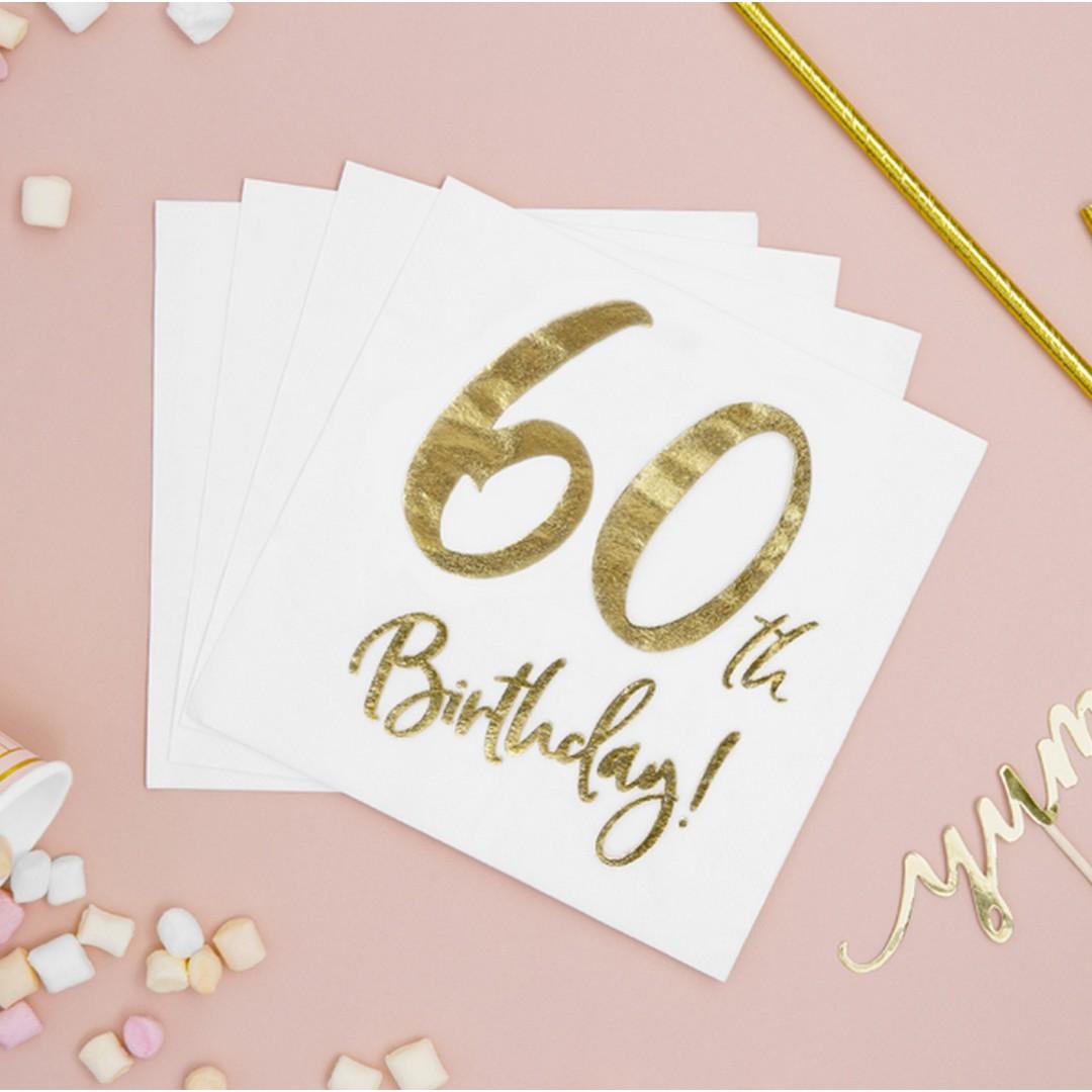 Białe serwetki ze złotym nadrukiem 60 urodziny
