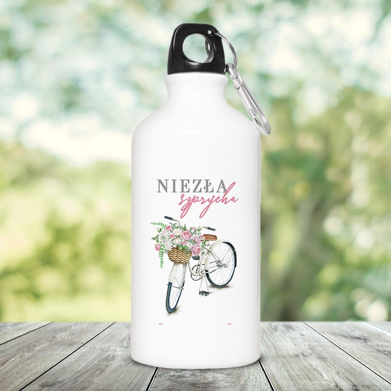 Bidon na wodę z kolorową grafiką roweru z koszykiem i personalizowanym napisem
