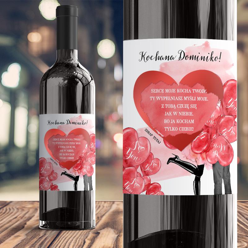 Zdjęcie w galerii - ETYKIETA na Wino Walentynkowa Czerwone Serca ze Zdrapką PERSONALIZOWANA