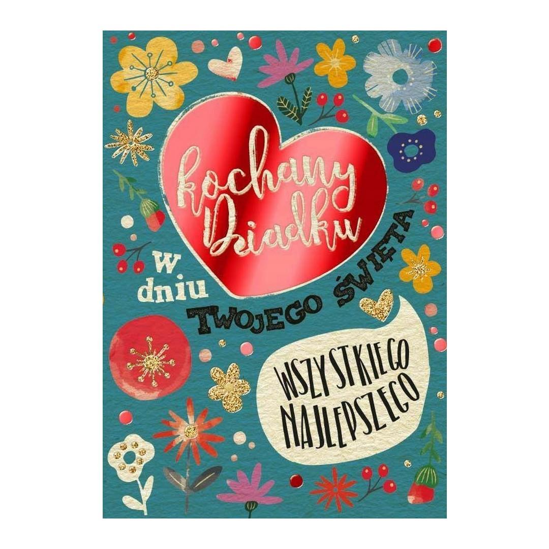 Pięknie dekorowana, bogato zdobiona kartka z życzeniami na dzień dziadka w zestawie z kopertą