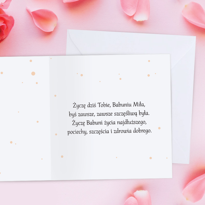 Zdjęcie w galerii - KARTKA z Życzeniami Dla Babci PERSONALIZOWANA +koperta