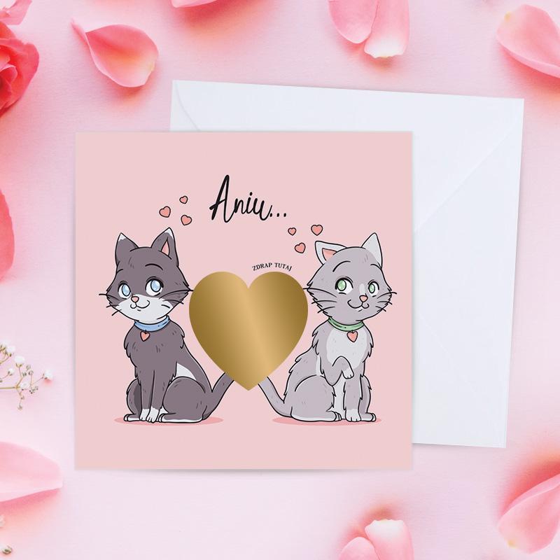 Zdjęcie w galerii - KARTKA Na Walentynki Zakochane Kotki Ze Zdrapką PERSONALIZOWANA