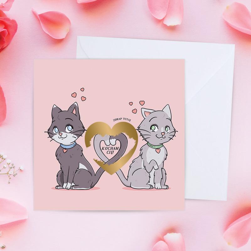 Kartka walentynkowa z grafiką dwóch kotów z ogonami które tworzą serce i napisem Kocham Cię