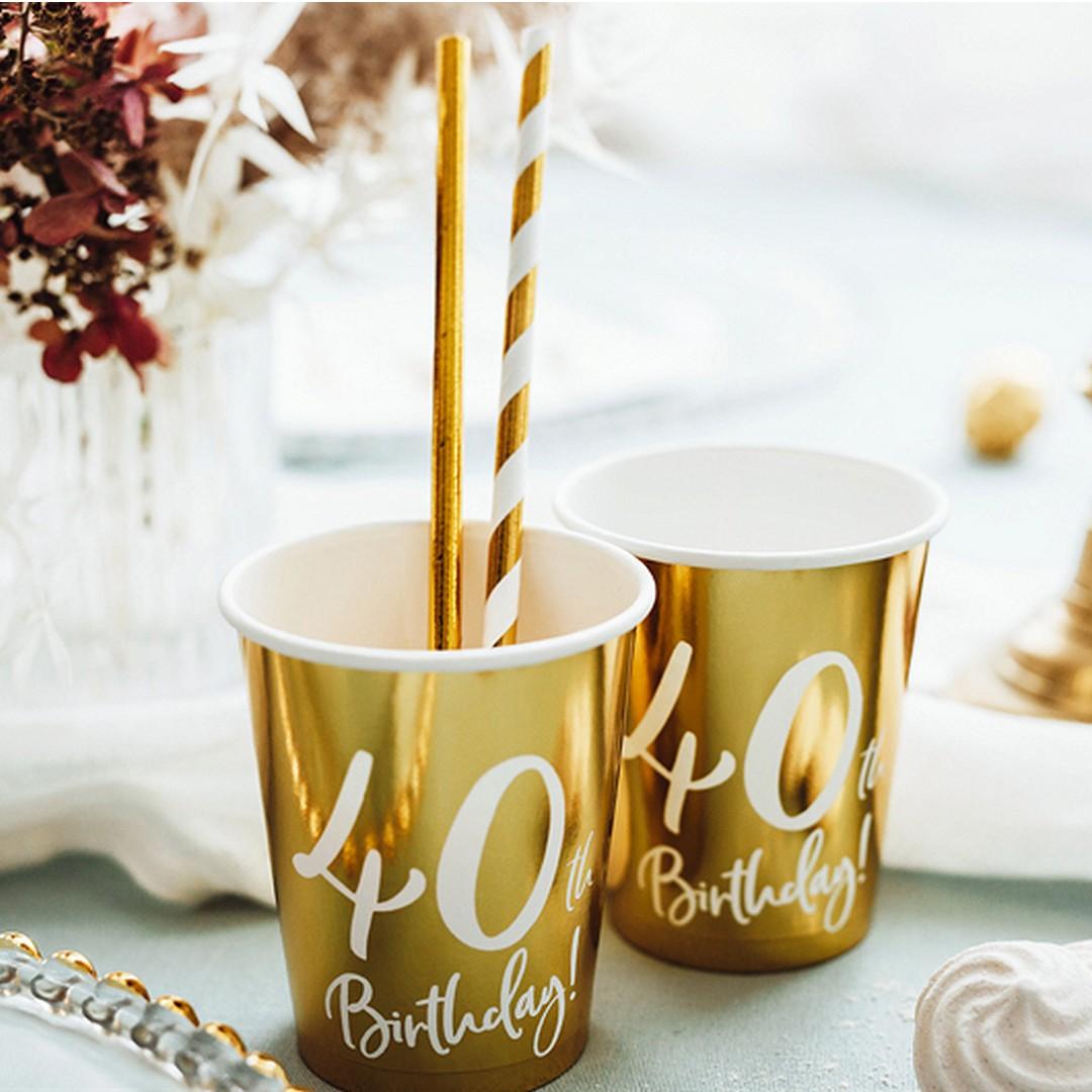 kubeczki złote z nadrukiem białym 40th Birthday!