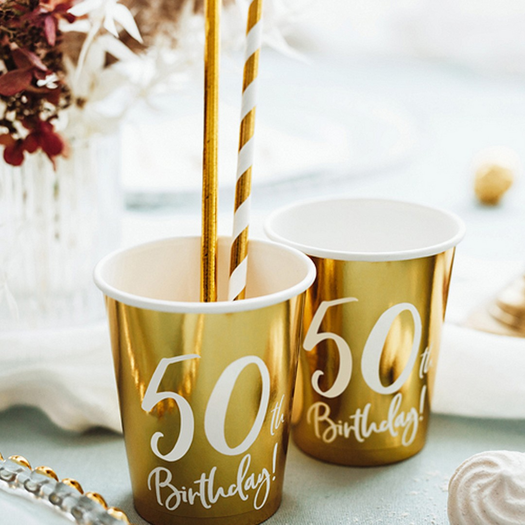 Zdjęcie w galerii - KUBECZKI papierowe Złote z Nadrukiem 50th Birthday! 6szt