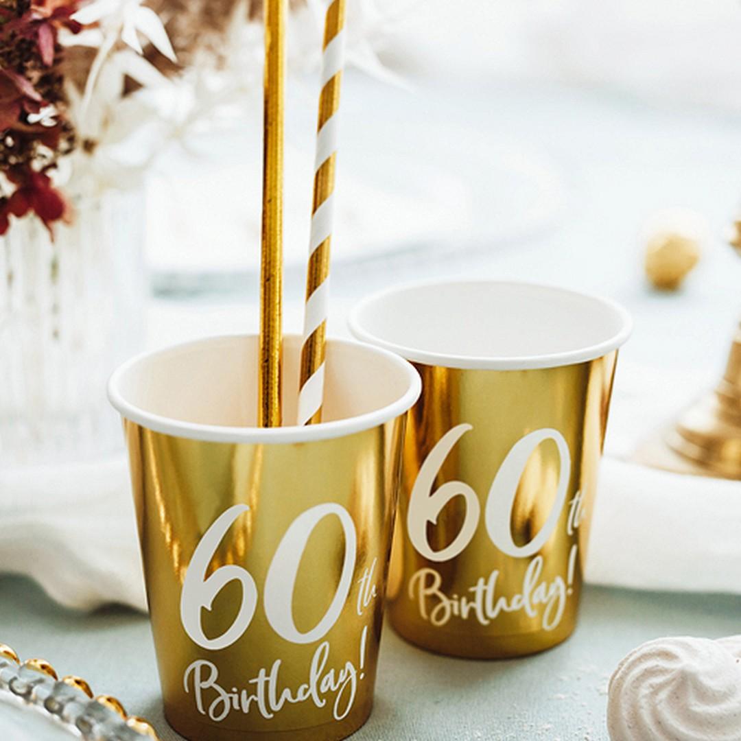 Kubeczki papierowe złote z napisem 60th Birthday