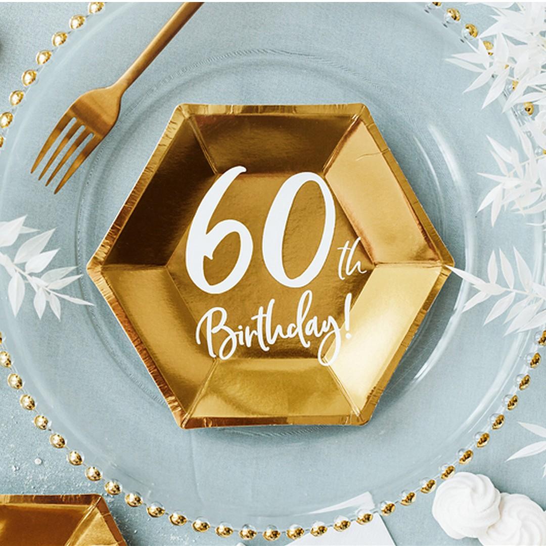 Złote talerzyki z napisem na 60 urodziny