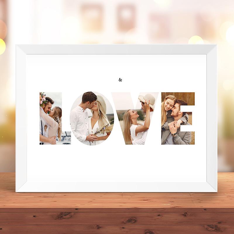 Plakat na Walentynki ze zdjęciami zakochanych oraz personalizowanym napisem