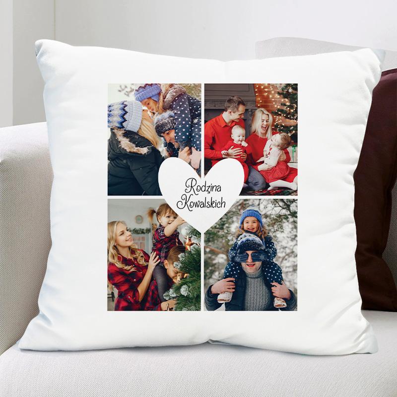 Biała poduszka ze zdjęciami rodzinnymi i personalizowanym podpisem