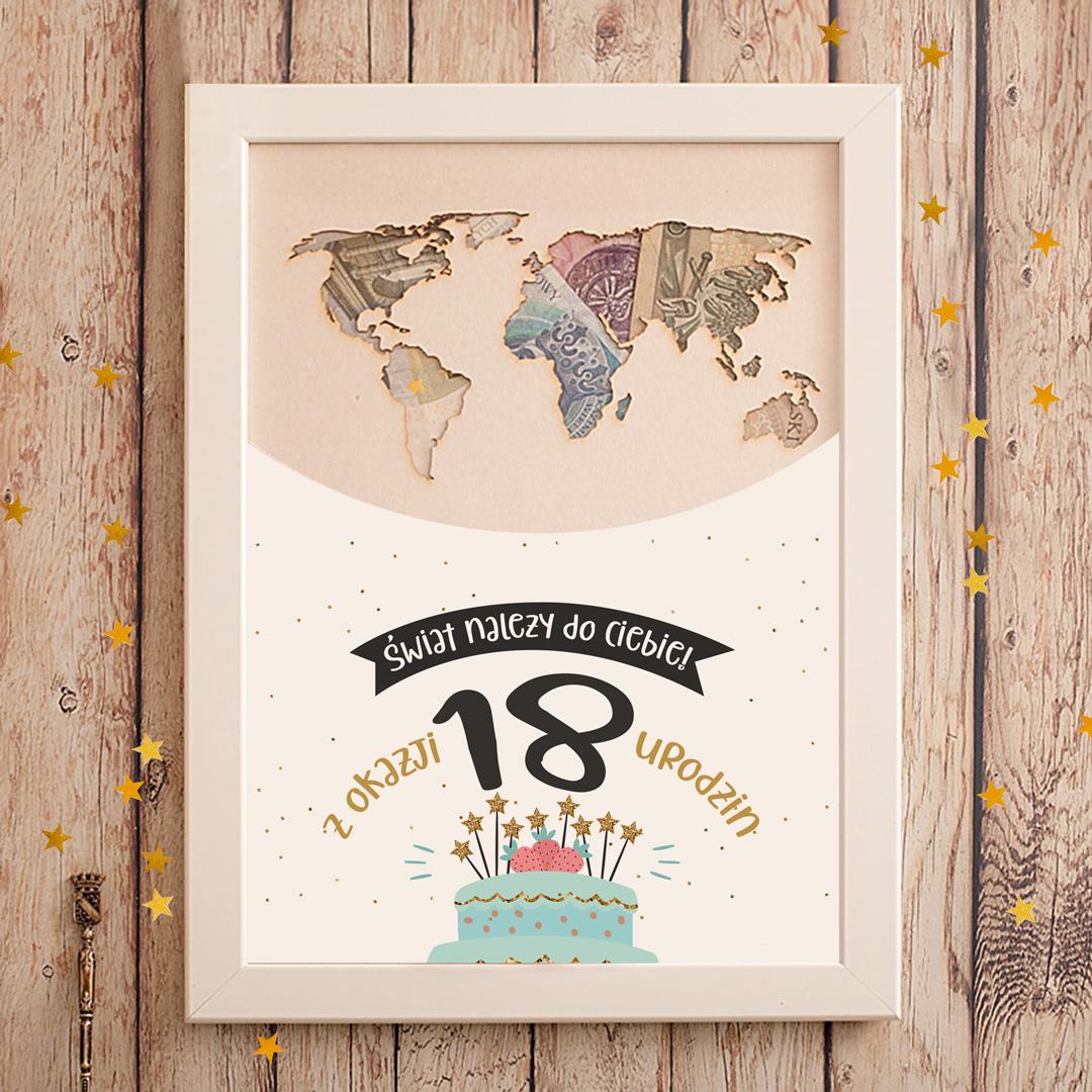 Mapa świata w ramce na pieniądze personalizowany prezent na 18