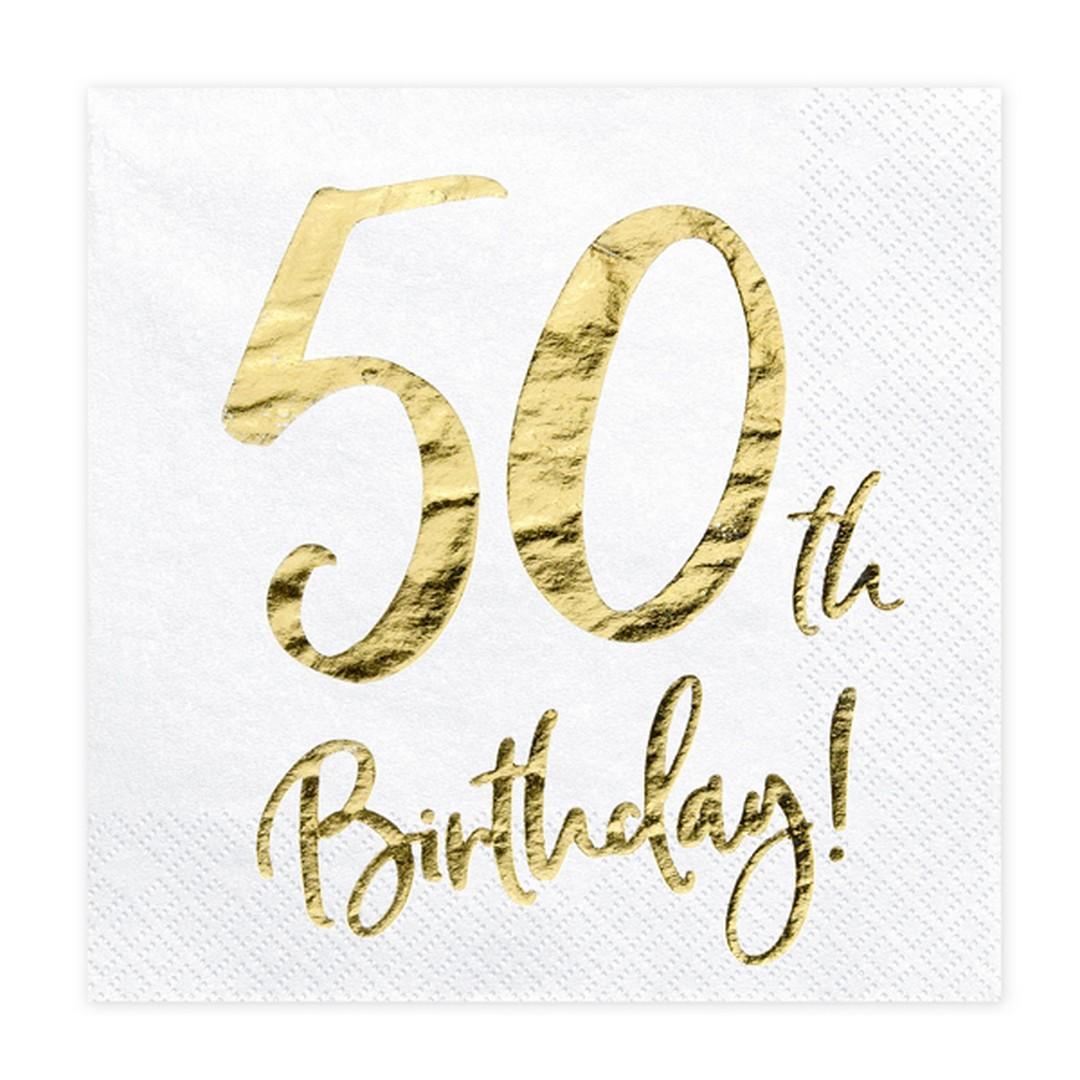 Zdjęcie w galerii - SERWETKI papierowe 50th Birthday Złoty Nadruk 20szt