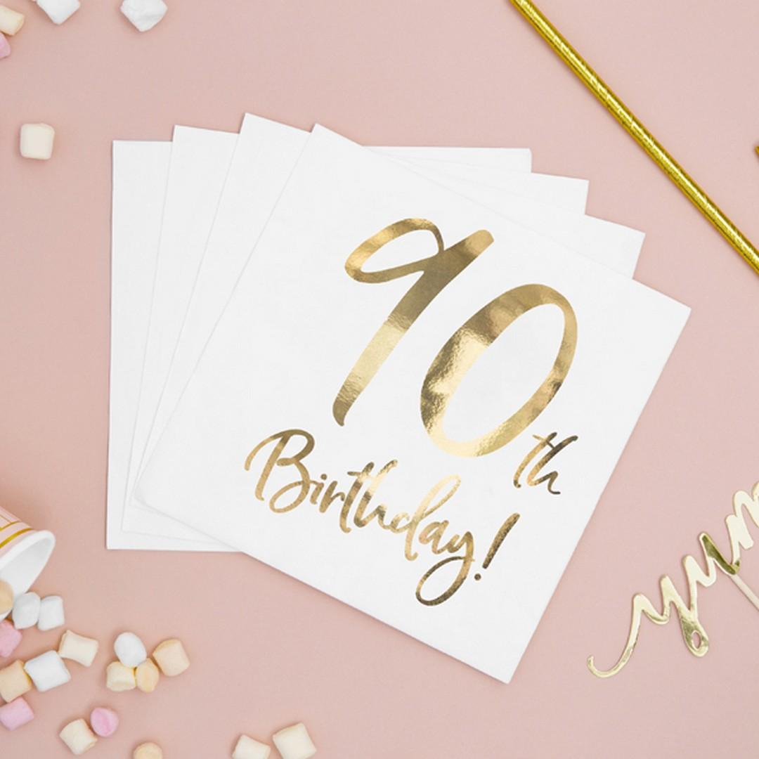 Serwetki dekoracyjne ze złotym nadrukiem na 90 urodziny