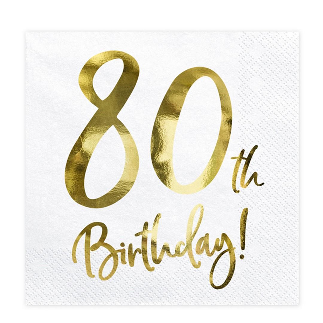 Zdjęcie w galerii - SERWETKI papierowe 80th Birthday Złoty Nadruk 20szt