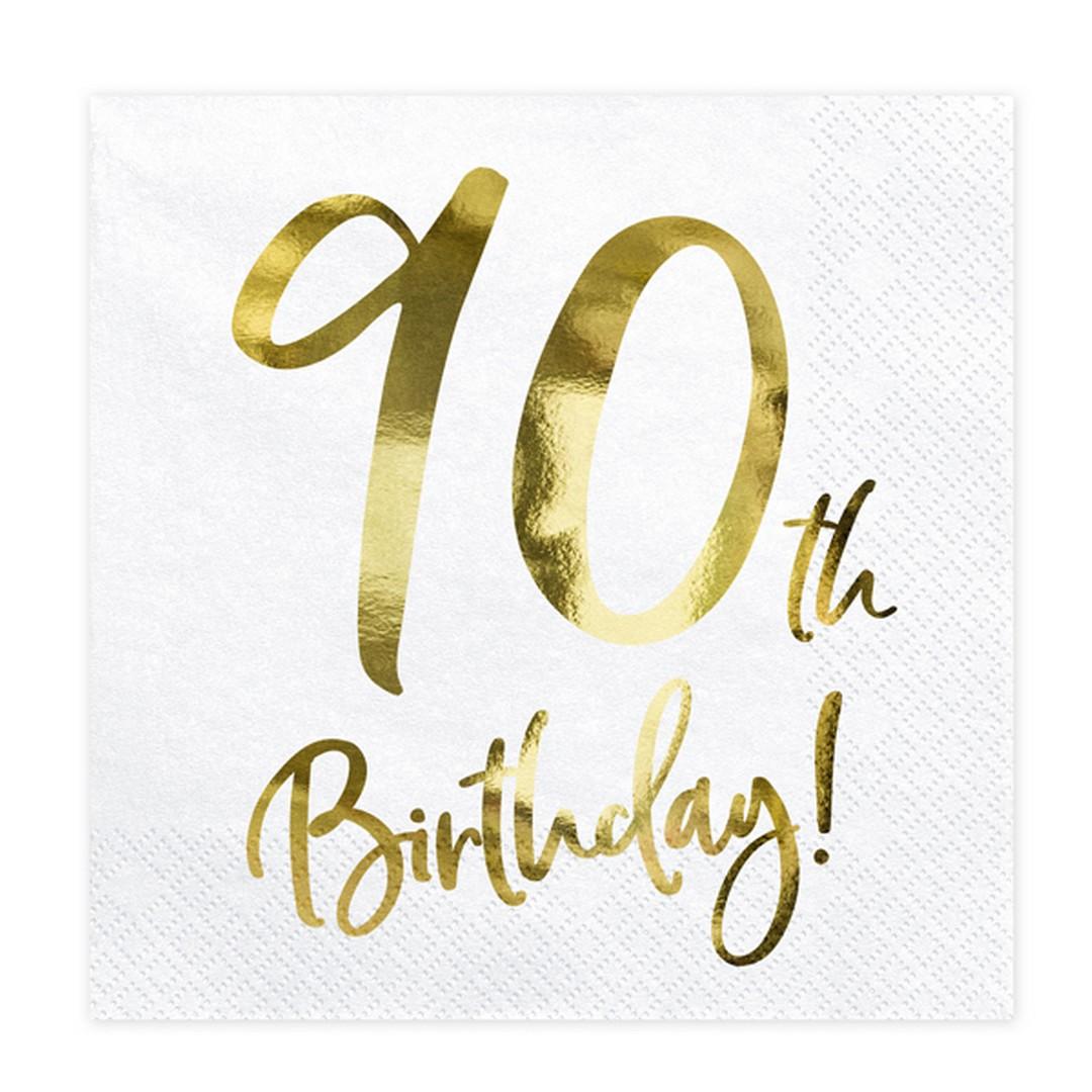 Zdjęcie w galerii - SERWETKI papierowe 90th Birthday Złoty Nadruk 20szt