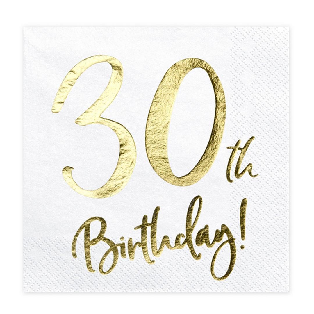 Zdjęcie w galerii - SERWETKI papierowe 30th Birthday Złoty Nadruk 20szt