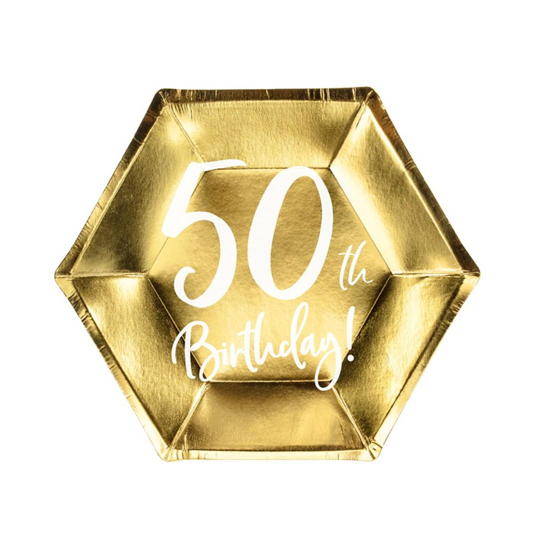 Zdjęcie w galerii - TALERZYKI papierowe z nadrukiem 50th Birthday! 6szt
