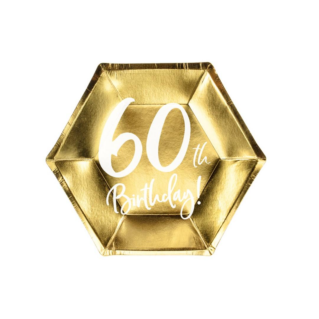 Zdjęcie w galerii - TALERZYKI papierowe z nadrukiem 60th Birthday! 6szt