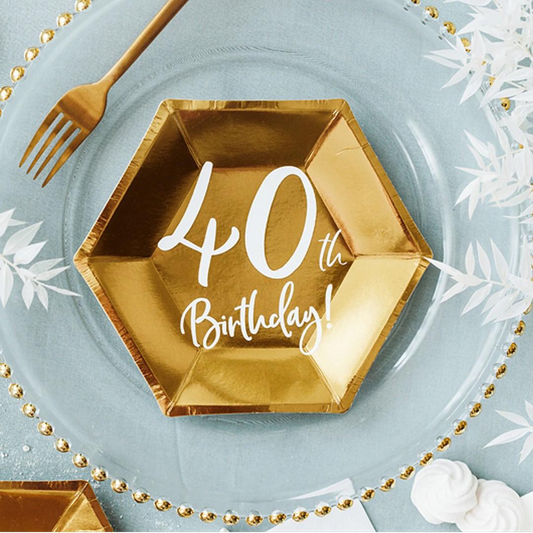 Talerzyk złoty sześciokątny z napisem 40th Birthday