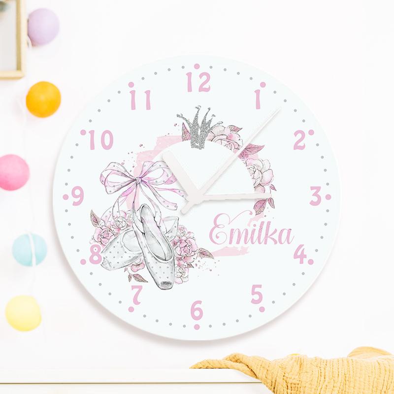 Personalizowany zegar dla dziewczynki z motywem baletu i nadrukowanym imieniem