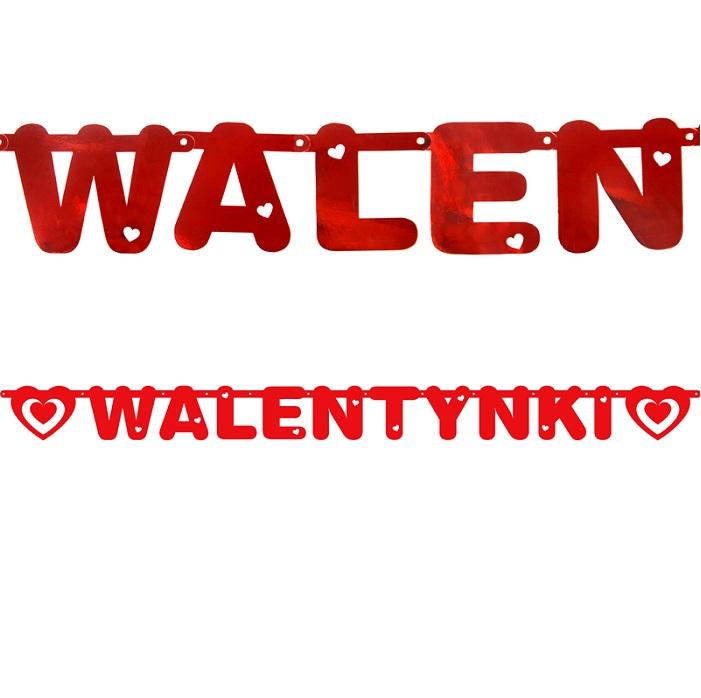 """baner wykonany w metalizowanym kolorze czerwonym, składający się z napisem """"Walentynki"""" oraz 2 serc"""