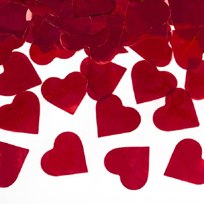Konfettti wystrzałowe, w podłużnej tubie, kształt serca w kolorze czerownym metalizowane, idealne na ślub, wesele, sesję zdjęciową