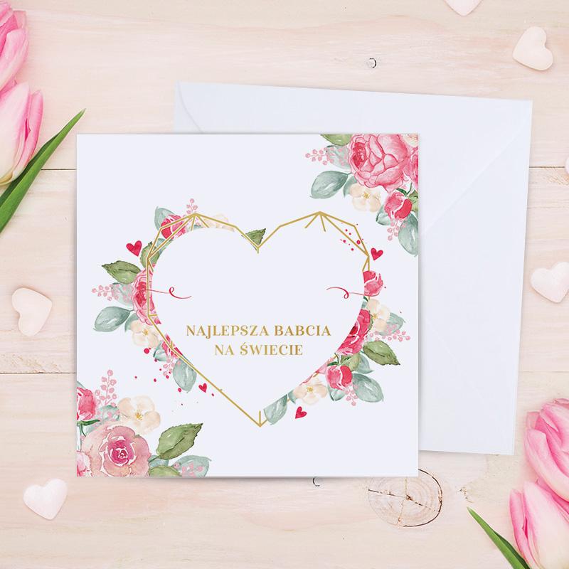 Kartka na urodziny dla babci, z miejscem na imię na okładce, które będzie w środku ozdobnego serca