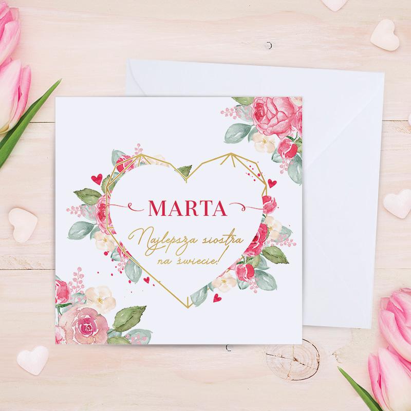 Zdjęcie w galerii - KARTKA urodzinowa Dla Najlepszej Siostry PERSONALIZOWANA +koperta
