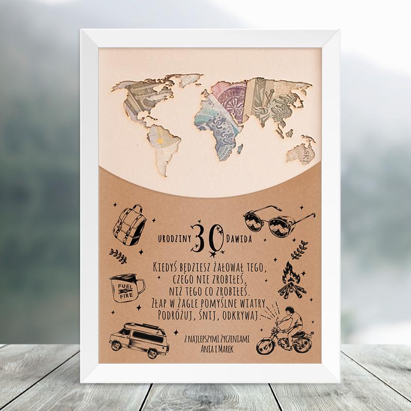 Zdjęcie w galerii - PLAKAT urodzinowy Mapa Świata Na Pieniądze PERSONALIZOWANY