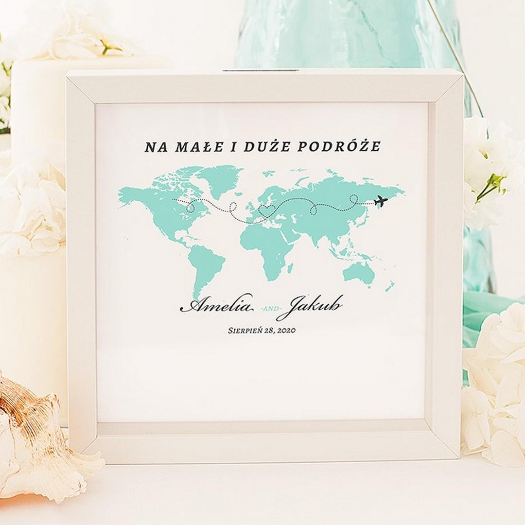 Zdjęcie w galerii - SKARBONKA 3D Prezent dla Młodej Pary Podróż Poślubna PERSONALIZOWANA