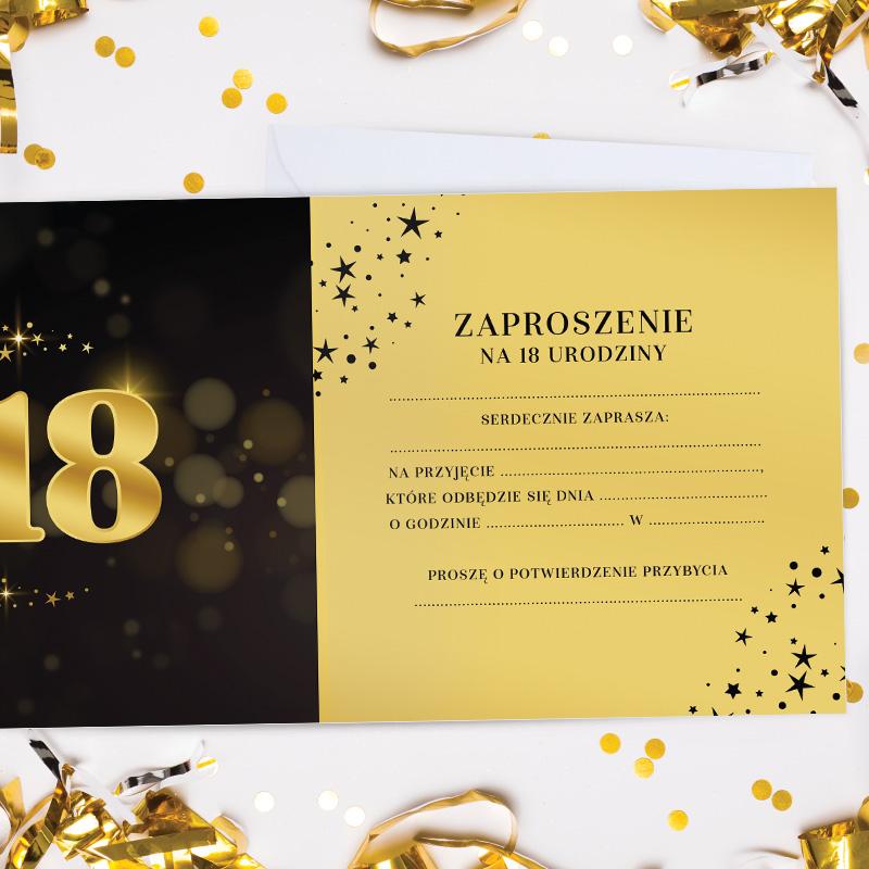 Zdjęcie w galerii - ZAPROSZENIA na 18 urodziny Złoto & Czerń 10szt +koperty