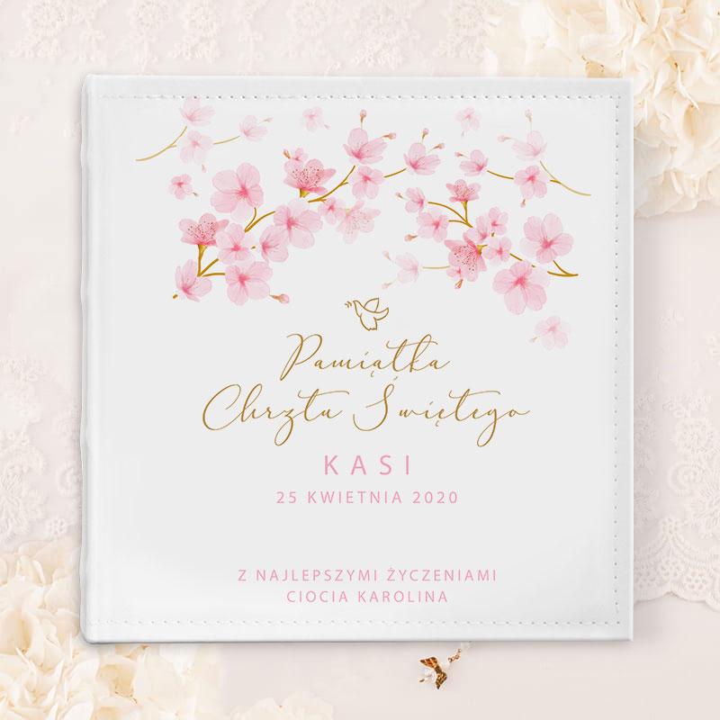 Zdjęcie w galerii - ALBUM na zdjęcia Prezent na Chrzest Święty Różowe Magnolie PERSONALIZOWANY