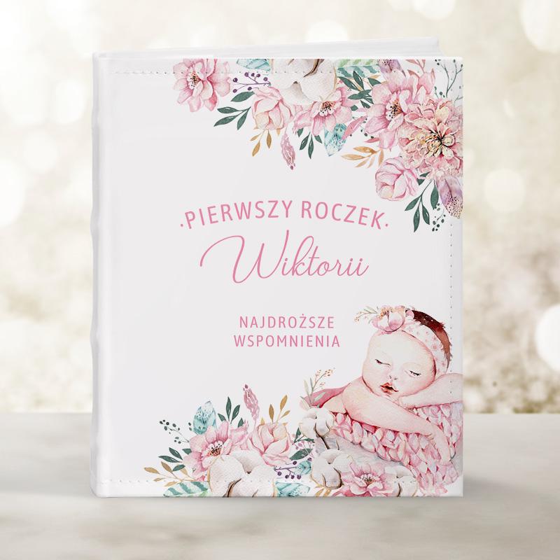 Album na zdjęcia na pierwsze urodziny lub chrzest święty dla dziewczynki