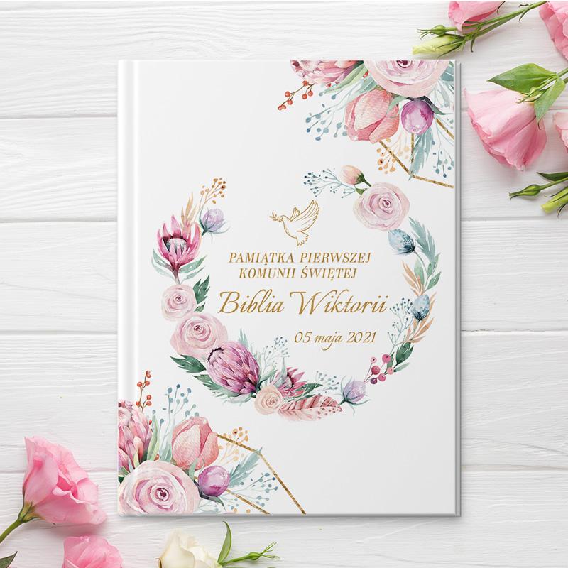 Zdjęcie w galerii - BIBLIA Prezent na Komunię Dream Flower z Imieniem