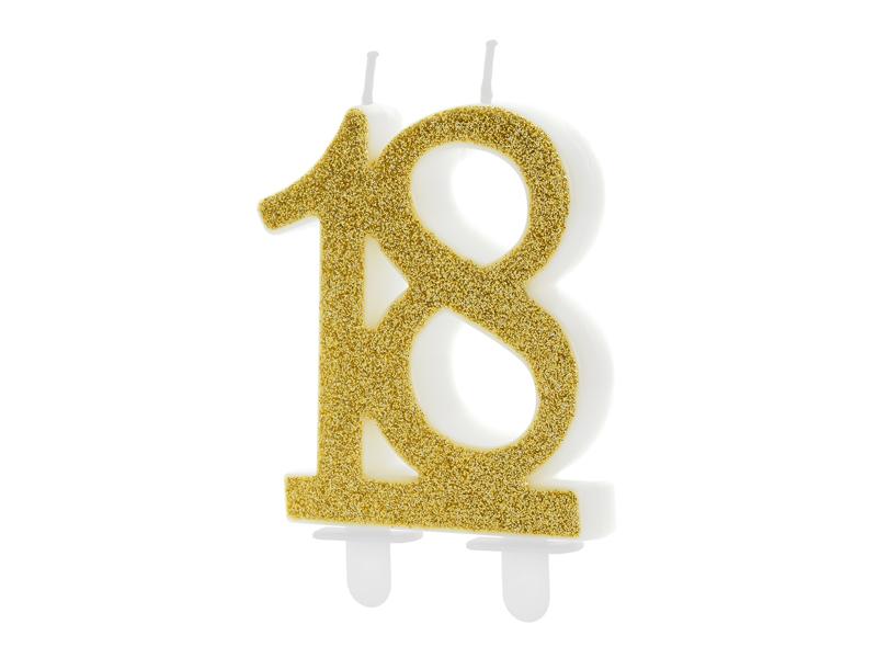 Świeczka w kształcie cyfry 18 w kolorze złotym, na tort