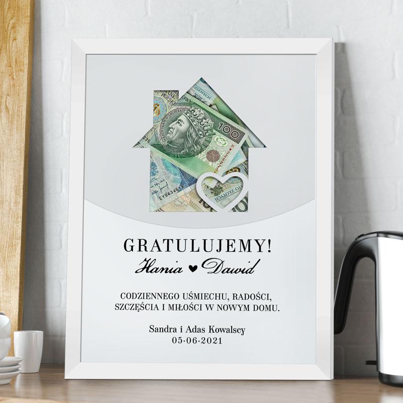 Ramka z plakatem dom, na pieniądze na prezent dla Mlodej Pary