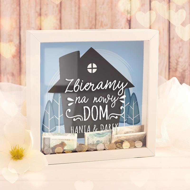 Personalizowana skarbonka idealna dla osób, które zbierają oszczędności na wymarzony dom.