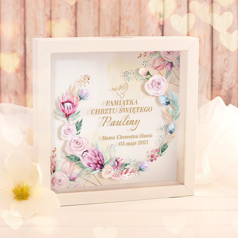 Zdjęcie w galerii - SKARBONKA 3D Ramka Prezent na Chrzest Św. Dream Flowers PERSONALIZOWNA