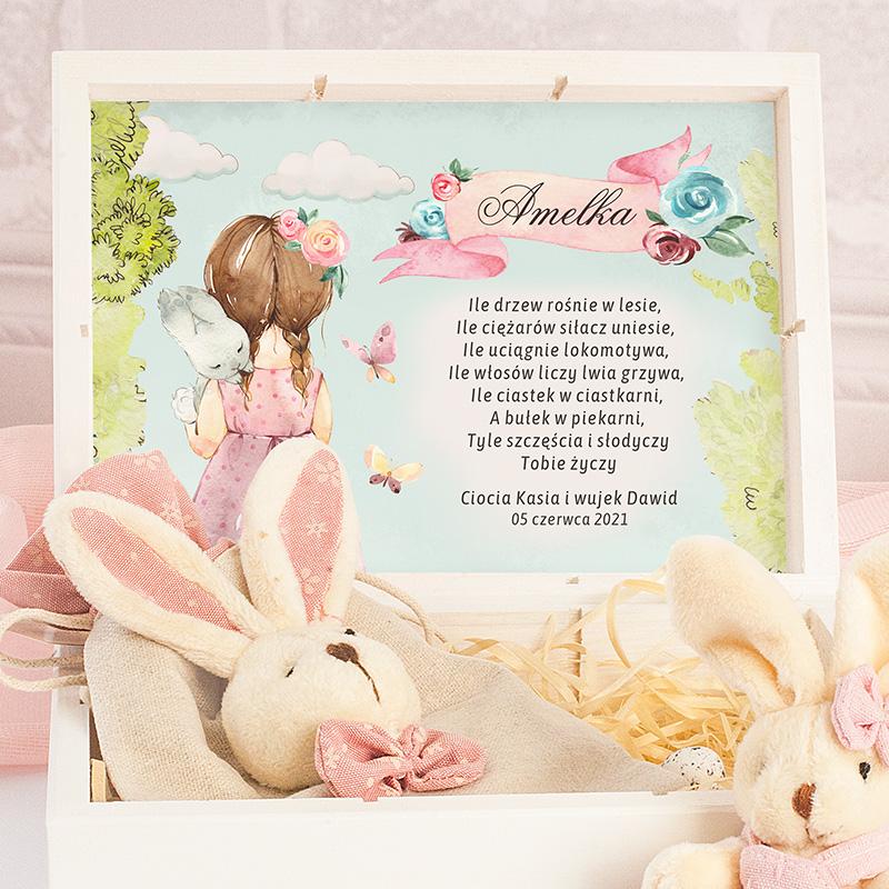 Zestaw prezentowy dla dziewczynki na Wielkanoc z króliczkami